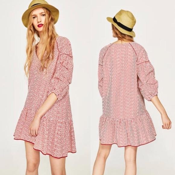 6c1c30cd852d Zara Red/White Striped Embroidered Casual Dress. M_5b4f379f28309550ff4c0914